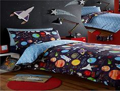 From 14.96:Kidz Club Planets Double Bed Duvet Cover And 2 Pillowcase Bed Set Bedding For Boy's  Sun Mars And Moon Black