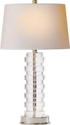Set of 2 Quad Stacked Crystal Table Lamps - Style # X8518 | Drum ...