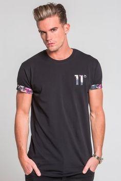 11 Degrees Vintage Floral Logo T-Shirt - Black - 11 Degrees from Urban Celebrity UK