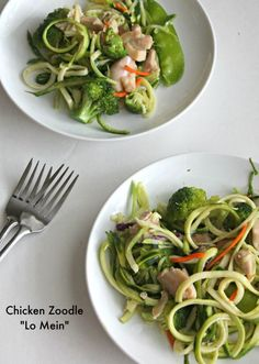 "Chicken Zoodle ""Lo Mein"" for #SundaySupper"