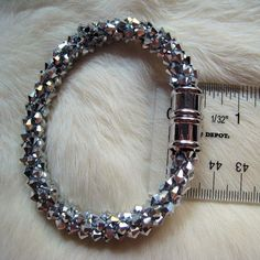Serious Bling Kumihimo Bracelet woven with Crystal Bicones - B48 | DesignsByMalone - Jewelry on ArtFire