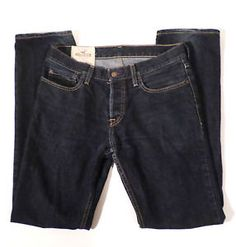 Mens Size 31x32 HOLLISTER Dark Wash Slim Leg Jeans, Button Fly
