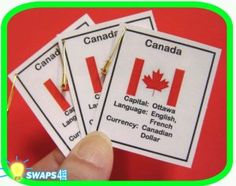 Canada Fun Facts Scout SWAPS Girl Craft - could possibly make something like this Girl Scout Swap, Girl Scout Troop, Brownie Meeting Ideas, Fun Facts About Canada, World Friendship Day, Gs World, Brownie Guides, Around The World Theme, World Thinking Day