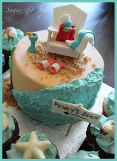 Beach retirement cake  Cake by sugarspicecouture