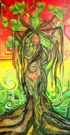 "Eva Ruiz- ""Birth of the New Woman"" *the texture of this piece is amazing. she used real leaves and some kind of burlap for parts of the roots. Mother Earth Drawing, Mother Earth Tattoo, Black Girl Art, Black Women Art, Art Girl, African American Art, African Art, Mutter Erde Tattoo, Gaia Goddess"