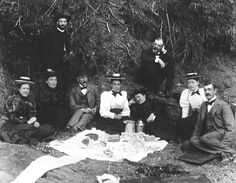 """This photo is shown on a blog as """"Picnickers at the First Battle of Bull Run, 1861."""" The styles of clothing and photography processes indicate it was take 1890s-1900. Perhaps these picnickers are at a remembrance ceremony."""