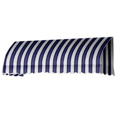 AWNTECH 45 ft. Savannah Window/Entry Awning (44 in. H x 36 in. D) in Navy/White Stripe, Blue