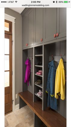 Mudroom with shoe shelves