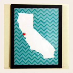 Custom Location and State Chevron Graphic Print with Modern Frame $20.00