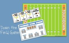 Down the Field is a reinforcer that you can use with students working on speech and language, centers and more! This game is PERFECT to accompany flashcards! The game is played on this football field. Print in full color or in printer-saving form! Students divide into teams and start in their respective end zone!