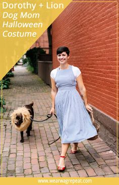 Easy Halloween Couples Costume With your Dog: Dorothy and The Lion! This is perfect for dogs and their owners to trick or treat! Hot Halloween Costumes, Easy Costumes, Pet Costumes, Dog Halloween, Halloween Couples, Couple Costumes, Dog And Owner Costumes, Costume Ideas, 90s Costume