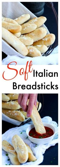 Soft Italian Breadsticks  These soft homemade bread sticks are SO easy to make . Topped with a cheese and herb mixture, the perfect addition to the bread basket at the dinner table. Bake up in 20 minutes, hot and fresh.