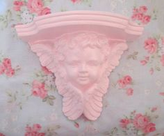 Chic Shabby Pale Pink Cherub Angel White Wall Shelf Plate Slot Detailed Very Ornate Romantic Paris Cottage Victorian Big Wings Hand Painted by VintageChicPleasures on Etsy