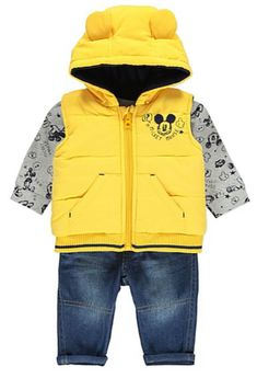 Disney Mickey Mouse Gilet, Top and Jeans Set