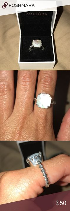 Pandora Mother of Pearl Ring Brand new never worn, selling bc I got the same one as a gift. Comes in original box. Pandora Jewelry Rings