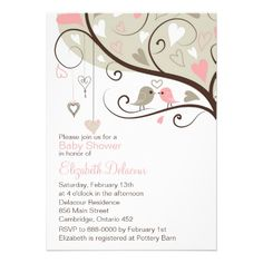 Whimsical Pink & Gray Birds Baby Shower Invitation