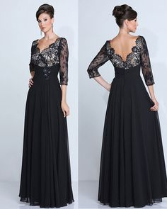 Online Shop Custom Made Black Lace Sexy V-neck Evening Gown Long Chiffon Plus Size Mother of the Bride Evening Dresses 2016 Evening Dresses With Sleeves, Evening Dresses Plus Size, Chiffon Evening Dresses, Black Evening Dresses, Long Evening Gowns, Mob Dresses, Wedding Dresses Plus Size, Plus Size Dresses, Nice Dresses