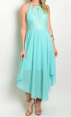 Unforgettable Geometric Mint Lace Chiffon Asymmetrical Dress   Ledyz…