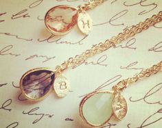 Bridesmaid Gift Jewelry Initial Necklace Bridesmaid por LimonBijoux