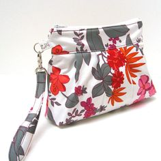 Zippered Wristlet Purse Flowers and leaves in Orange by LMcreation