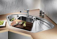 Corner Kitchen Sink Design with Metal and Wood Materials