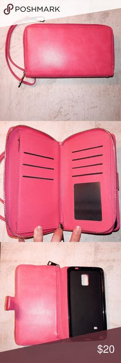 Galaxy Note 4 Pink Vegan Leather Wallet Case This super cute and stylish case features a full zippered wallet compartment with card & money slots. The phone goes into another compartment that has a magnetic closure. Included is also a removable strap. This wristlet is fully functional without being bulky. Bags Wallets