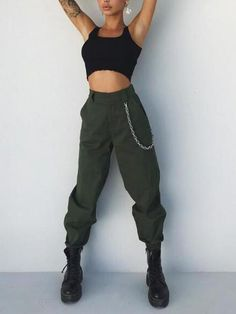 fd7a38ee754eb New Army Green Pockets High Waisted Casual Chain Cargo Harem Long Pants