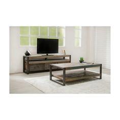 9bbf0af8373680 La Table basse double plateaux rectangulaire vintage NOAH en teck massif  recyclé et métal (120x60x40cm