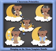 Clipart Templates for Scrapbooking.    Hanging On The Moon Clipart Template Bundle. For Digital Scrapbooking, Clipart, Creating Cards & Printables.    Comes PSD Format  For Use in Photoshop and Graphics Programs