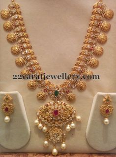 Jewellery Designs: Pachi Bridal Haram with Hangings Gold Jewelry Simple, Golden Jewelry, Pearl Jewelry, Hanging Jewelry, Gold Jewellery Design, Designer Jewellery, Latest Jewellery, Schmuck Design, Jewelry Patterns