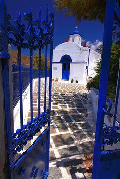 Blue gate    Agios Nikolaos church, Serifos island by Marite2007 on Flickr.