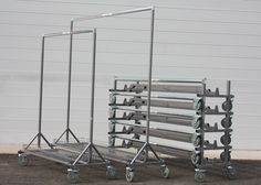 A selection of our industrial quality, collapsible, stackable, mobile garment rails available for hire! Utility Pole, The Selection, Industrial, Industrial Music