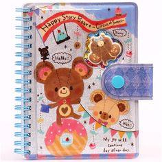 bear donut macaron glitter ring binder sticker album