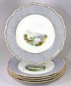 Antique Royal Worcester Set of 5 Scenic Cabinet Plates - 1901-12 date mark, hand painted views