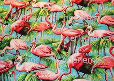 Retro style Flamingo Tropical Print Cotton Fabric by scavengerannie on Etsy Flamingo Fabric, Flamingo Bird, Flamingo Print, Fabric Birds, Pink Flamingos, Tropical Fabric, Tropical Design, Vintage Birds, Retro Vintage