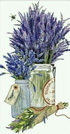 Flowers In Jars, Lavender Flowers, Lavander, Lavender Fields, Decoupage Vintage, Decoupage Paper, Watercolor Flowers, Watercolor Art, Decoupage Printables