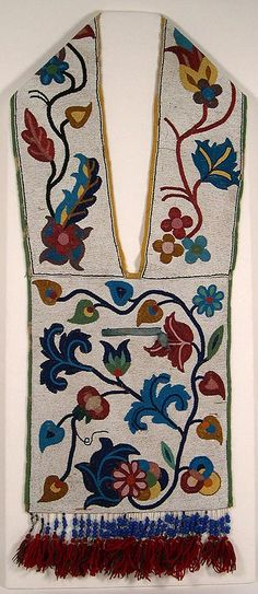 Bandolier bags are elaborately decorated shoulder bags most commonly made by Native peoples of the Prairies and Upper Great Lakes, from southern Canada to Kansas. The bags are thought to have originated around the 1840s or 1850s. Few were made after the 1940s, although they are occasionally made today.