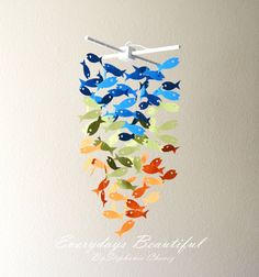 Fish Mobile/chandelier /CHOOSE YOUR 3 COLORS by EverydaysBeautiful, $30.50 https://www.etsy.com/listing/125614566/fish-mobilechandelier-choose-your-3?ref=shop_home_active