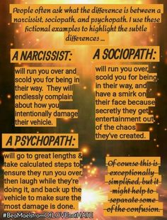 What is the difference between a narcissist, sociopath, and psychopath? (In my experience, absolutely nothing, I dealt with every single trait of each of these) Narcissistic People, Narcissistic Behavior, Narcissistic Abuse Recovery, Narcissistic Personality Disorder, Narcissistic Sociopath, Sociopath Traits, Psychopath Sociopath, Signs Of A Sociopath, Psychopath Quotes