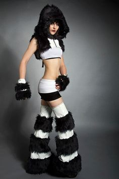 rave and cyber-punk shrug, hood and leg fluffies from evolution division. I would wear this.. minus the furries, of course!