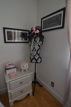 Kids room with chalk wall accent perfect for a girly girl. Complete with inspirational wall art.