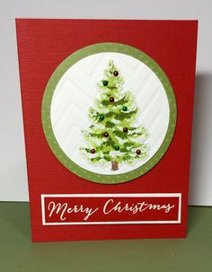 Christmas Tree Card - Scrapbook.com - Layering stamps are all the rage! Check out this beautiful Christmas tree made with a Hero Arts layering stamp!