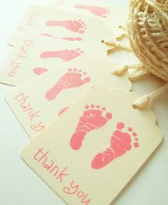 Pink Footprint Tags , Baby Shower Favors , Baby Shower Thank You Tags ,Treat Labels on Etsy, $6.25