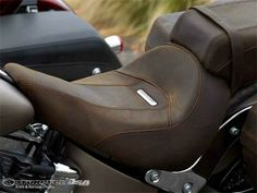 Like the look of the distressed leather seat with the satin pewter color of the bike.