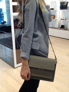 #marni #bag la trovi su: http://www.thegallerya.com/boutiquesco/grey-calf-leather-shoulder-bag-from-marni-featuring-a-foldover-top-with-clasp-closure.html
