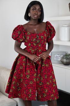 African Wear Dresses, Latest African Fashion Dresses, African Print Fashion, African Attire, Fashion Prints, Ankara Fashion, Africa Fashion, African Prints, V Neck Midi Dress