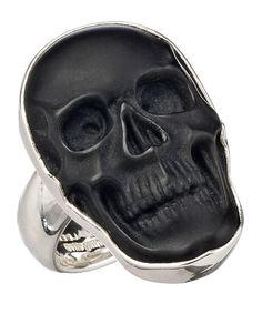 Charles Albert Obsidian Small Skull Adjustable Ring