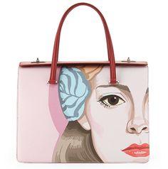 Prada Saffiano Girl Print Bag Pink