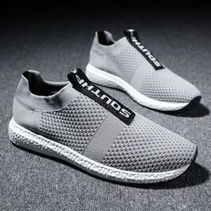 Men Flyknit Fabric Breathable Light Running Shoes Slip On Casual Sneakers