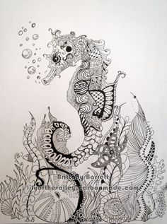 This is a zentangle design of a seahorse done with pen and ink on Bristol Board. Prints are available on canvas on art board, archival photographic poster and Fine Art Paper (Formerly known as Epson Somerset Velvet) soft-textured, acid-free, cotton. Zentangle Drawings, Doodles Zentangles, Zentangle Patterns, Art Drawings, Zen Doodle, Doodle Art, Image Tatoo, Tangle Art, Colouring Pages